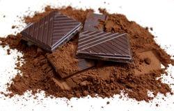 Dark chocolate with cacao Stock Photos