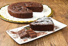 Dark chocolate cake Stock Images