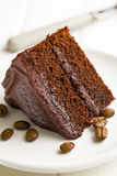Dark chocolate cake with coffee beans Royalty Free Stock Image