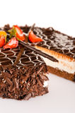 Dark chocolate cake creamy with strawberries Stock Image