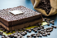 Dark chocolate cake decorated with coffee beans Stock Image