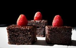 Dark chocolate cake decorated with raspberries Stock Photography