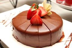 Dark chocolate cake with fresh strawberry Royalty Free Stock Image