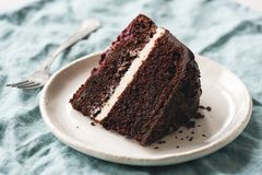 Dark Chocolate Cake Slice On Plate. With Vanilla Buttercream Frosting royalty free stock photo