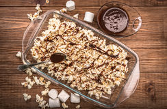 Dark chocolate caramel popcorn. Homemade . Royalty Free Stock Photo