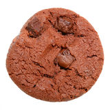 Dark chocolate chip cookie on white Stock Images