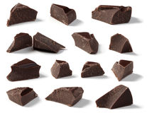 Dark Chocolate Chunks. Collection on a white background royalty free stock photo