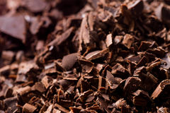 Dark chocolate chunks. Closeup to dark chocolate chunks Stock Photo