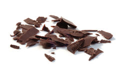 Dark Chocolate Chunks. Isolated on white. Closeup Stock Photo