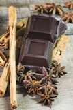 Dark chocolate with cinnamon and star anis spices Stock Photography