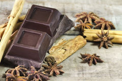 Dark chocolate with cinnamon and star anis spices Stock Photo