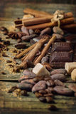 Dark chocolate with cocoa beans Royalty Free Stock Photos