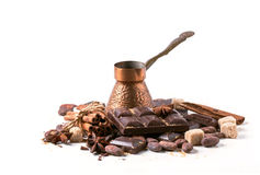 Dark chocolate with cocoa beans Royalty Free Stock Photo