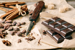 Dark chocolate with cocoa beans Stock Image