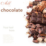 Dark chocolate with cocoa beans Royalty Free Stock Image