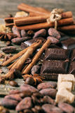 Dark chocolate with cocoa beans Royalty Free Stock Images