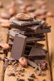 Dark chocolate and cocoa beans Royalty Free Stock Photography