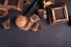 dark chocolate and cocoa powder stock image