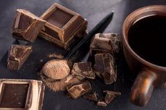 dark chocolate and cocoa powder stock photos