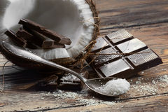 Dark chocolate and coconut Stock Photography