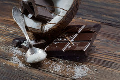 Dark chocolate and coconut Royalty Free Stock Photography