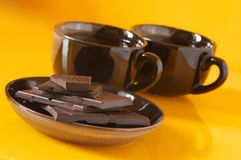 Dark chocolate and coffee Stock Images