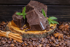 Dark chocolate  coffee beans, cinnamon and star anise Stock Photography