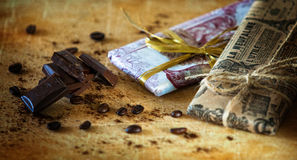 Dark chocolate with coffee beans Royalty Free Stock Photo