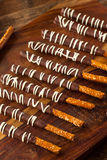 Dark Chocolate Covered Pretzels. For Valentine's Day stock photos