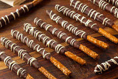 Dark Chocolate Covered Pretzels. For Valentine's Day royalty free stock image