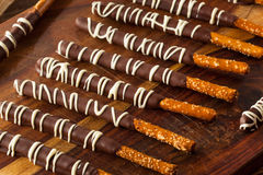 Dark Chocolate Covered Pretzels. For Valentine's Day royalty free stock photography