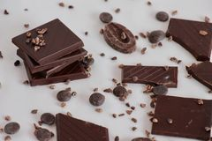 Dark chocolate in different shape royalty free stock photos