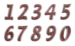Dark chocolate digits set. Real dark chocolate digits set isolated on a white background Stock Image