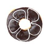 Dark chocolate donut isolated on white Stock Image