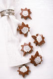 Dark chocolate festive christmas star sweets Royalty Free Stock Images