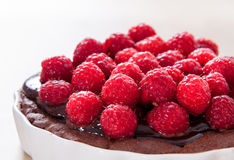 Dark chocolate and fresh raspberry tart / cake / pie Royalty Free Stock Photo