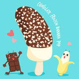 Dark chocolate frozen banana pop. Illustration Stock Images