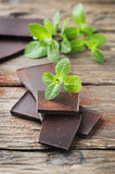 Dark chocolate with green mint Stock Photography