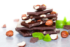 Dark chocolate with hazelnuts Stock Photo