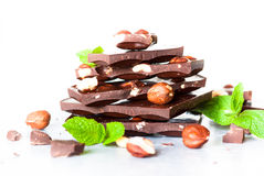 Dark chocolate with hazelnuts Royalty Free Stock Photos