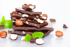 Dark chocolate with hazelnuts Royalty Free Stock Photography