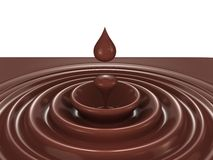 Dark chocolate heart symbol as a liquid drop Stock Photography