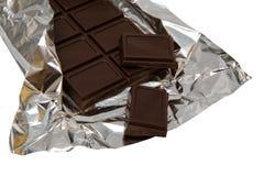 Dark Chocolate In A Foil Stock Photo