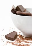 Dark Chocolate In The Bowl Royalty Free Stock Photos