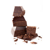 Dark chocolate isolated on white background Royalty Free Stock Images