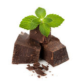 Dark chocolate with mint leaves Royalty Free Stock Image