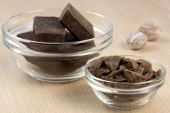 Dark chocolate and nutmeg Royalty Free Stock Image