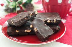 Dark chocolate with nuts for christmas Royalty Free Stock Photography