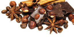 Dark  chocolate with nuts and spices Royalty Free Stock Photography