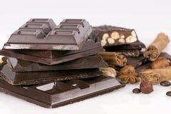 Dark chocolate with nuts Stock Image